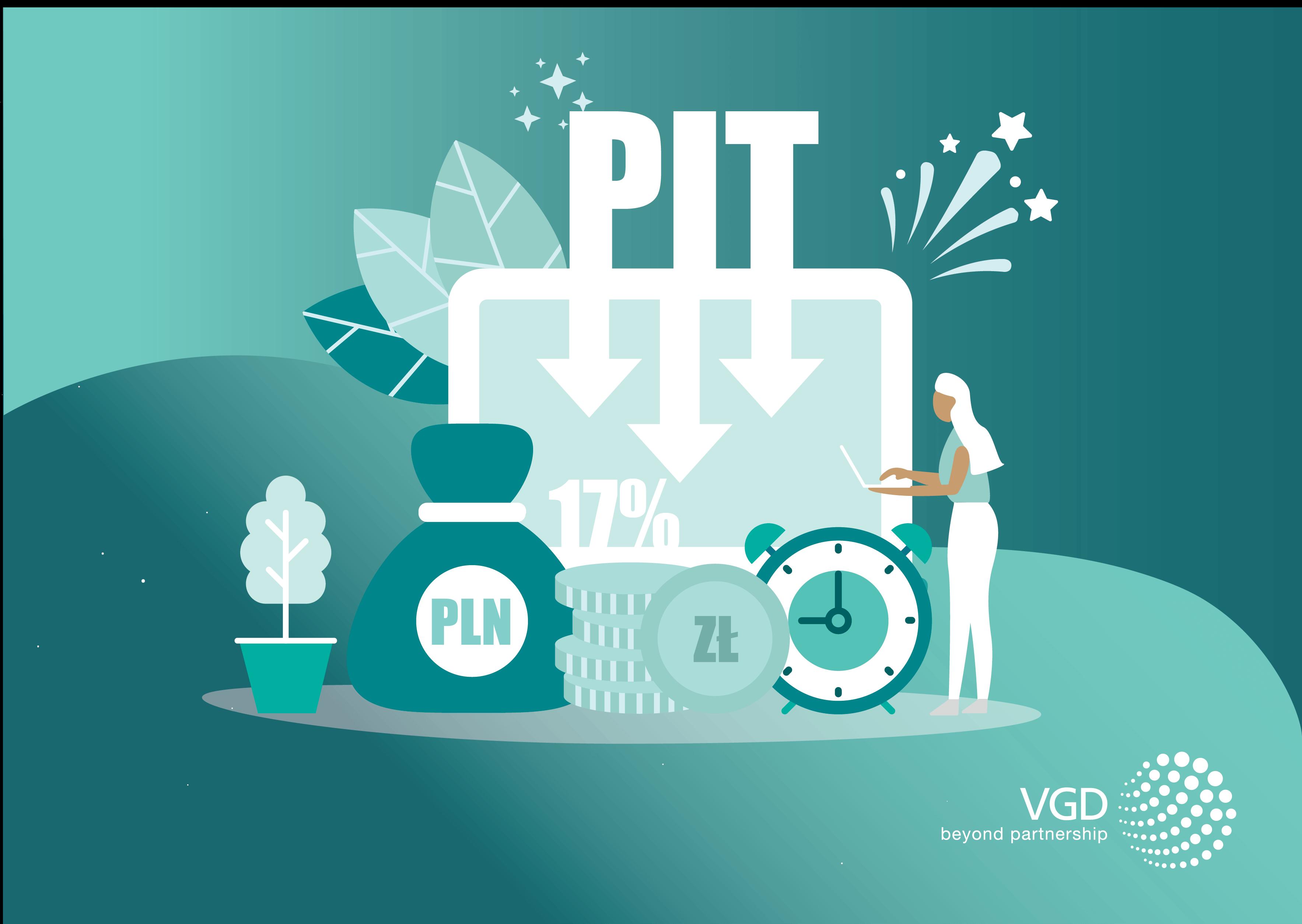 redukcja pit do 17 procent, grafika turkusowa, vgd polska, vgd poland, tax changes, zmiany w podatkach w Polsce 2019, pit 2019,