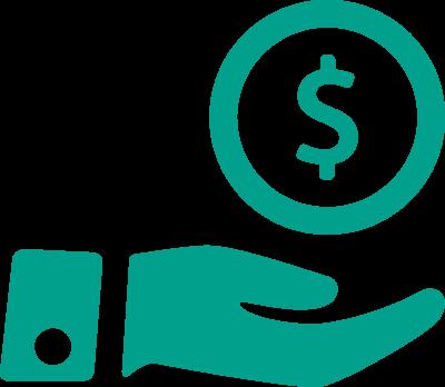 cyan icon hand money