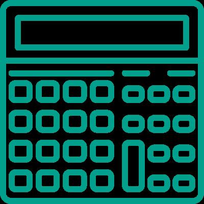 turkusowa ikona kalkulatora