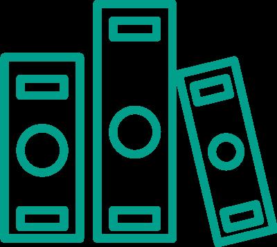 turkusowa ikona liniowa segregator