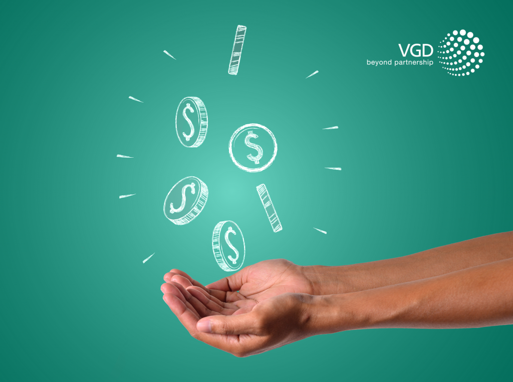 male palm with hand-drawn money on cyan background
